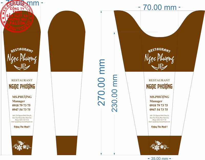 In ấn thiết kế logo thương hiệu, in bao thìa đũa dùng 1 lần cho nhà hàng